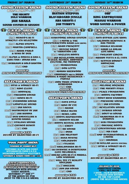 United Nations of Dub Weekender schedule