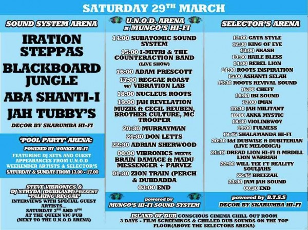 United Nations of Dub Weekender Saturday schedule Mungo's Hi Fi Subatomic Sound System