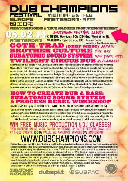 Dub Champions Festival Amsterdam 2014 lineup workshop