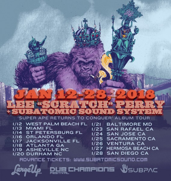 Lee Scratch Perry + Subatomic Sound System Super Ape Returns To Conquer USA tour dates 2018
