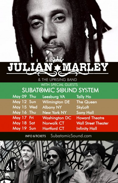 Julian Marley & Subatomic Sound System on tour May 8-19