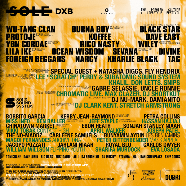 SoleDxb 2019 lineup Wu Tang Clan Lee Scratch Perry Subatomic Sound System Koffee Protoje